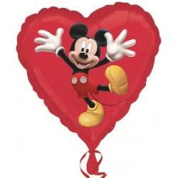 mickey coeur rouge ballon alu 45 cm