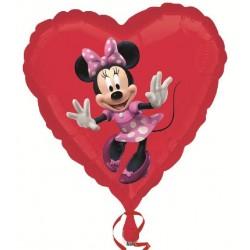 Minie coeur rouge ballon alu 45 cm