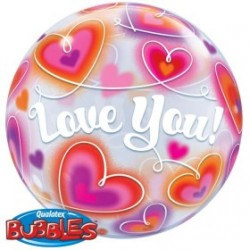 Love You bubble imprimé coeurs Q 34072 QUALATEX Amour Et Saint Valentin