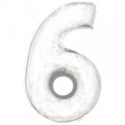 6 BLANC Chiffre métal mylar 6