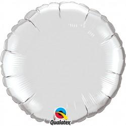 argent rond metal mylar 90 cm vendu non gonflé12683 QUALATEX Rond Mylar 90 Cm