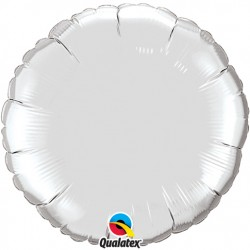 ballon mylar métal rond argent23145 QUALATEX Rond 45 cm mylar