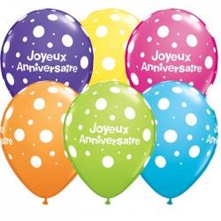 25 Joyeux Anniversaire ballons 28 cm qualatexqjapolkadot45306p2506256 QUALATEX Anniversaire Baudruches Imprimes