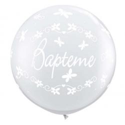 ballons baptême 90 cm transparent