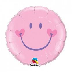 Ballon métal 45 cm diamètre smyle rose