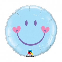 Ballon métal 45 cm diamètre smyle bleu