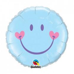 Ballon métal 45 cm diamètre smyle bleu91750QSMILEBLEUCOEURP1 Bêbê Bapteme Naissance