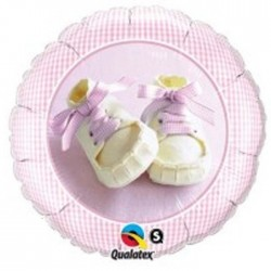 Chaussons fille ballons mylar qualatex 45 cm 81832 QUALATEX Bêbê Bapteme Naissance