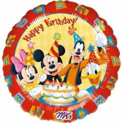 Ballon métal 45 cm diamètre mickey et amis birthday