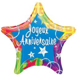 ballon étoile joyeux anniversaire 48 cm d'envergure à plat non gonflé