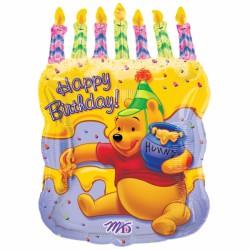happy birthday winnie avec gâteau et bougies 45cm*58 cm