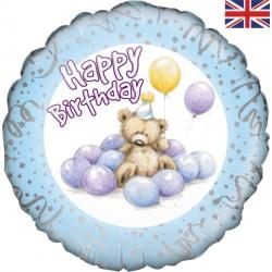 Petit ours aux ballons bleus birthday