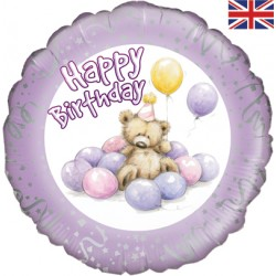 Petit ours aux ballons roses birthday