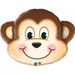 Tête joyeux singe ballon mylar 89 cm40197 QUALATEX Animaux
