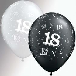 ballons 18 ans noir argentpoche de 25 QUALATEX 18