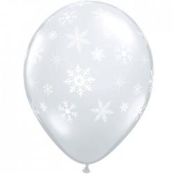 50 Flocons neige cristal transparent ballons baudruche 28 cm