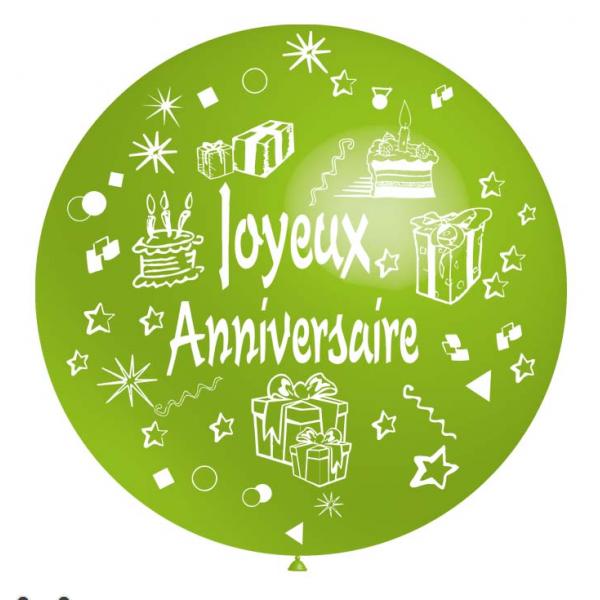 Joyeux Anniversaire 90 CM vert anisBNIA JA vert anis BALOONIA Anniversaire Baudruches Imprimes