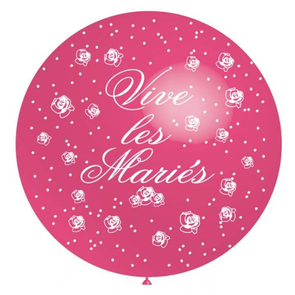Vive les mariés 75 CM rose métal