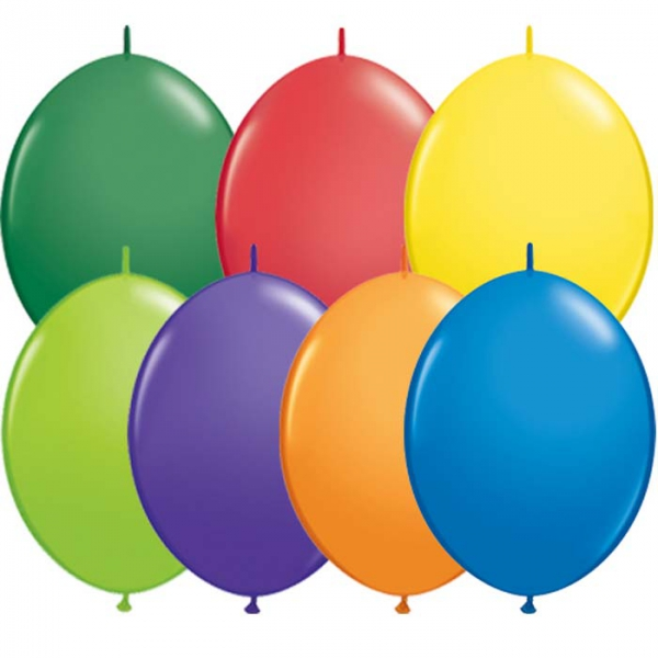 50 Ballons couleur Carnaval quick link 30 cmQL30carnaval QUALATEX Double Attaches Qualatex