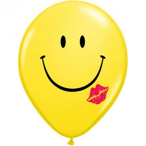 50 Ballons latex 28 cm smiley avec lèvre rouge