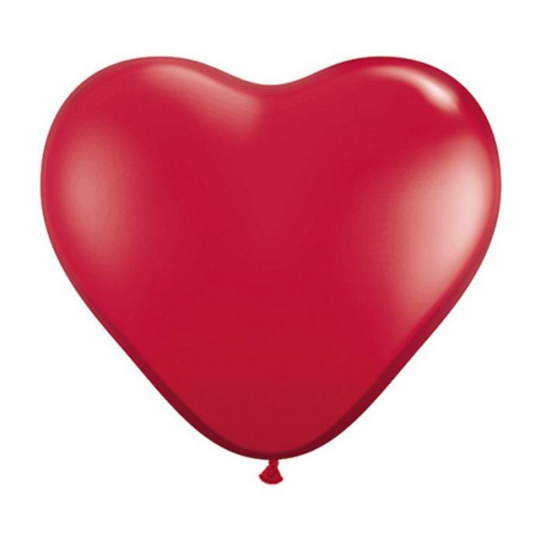 100 ballons latex coeur 15 cm rouge rubis308 QUALATEX COEUR 15 CM (air)