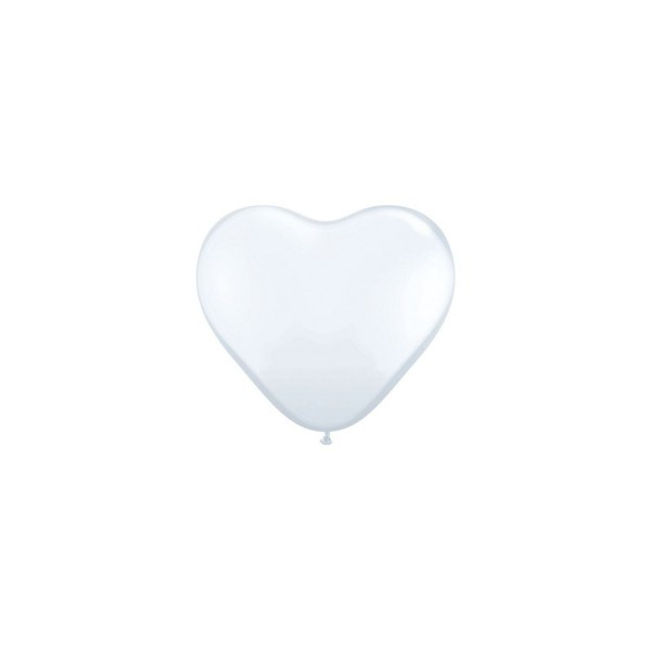 100 ballons latex coeur 15 cm blanc