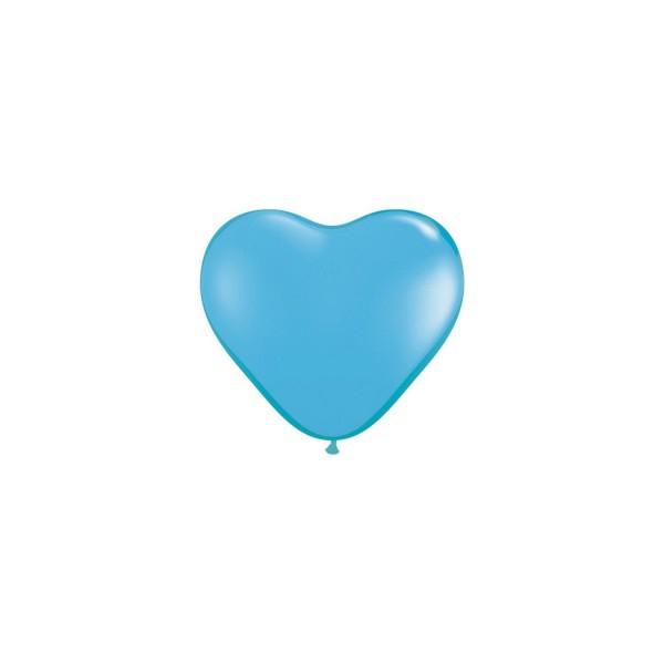 100 ballons latex coeur 15 cm bleu QUALATEX COEUR 15 CM (air)
