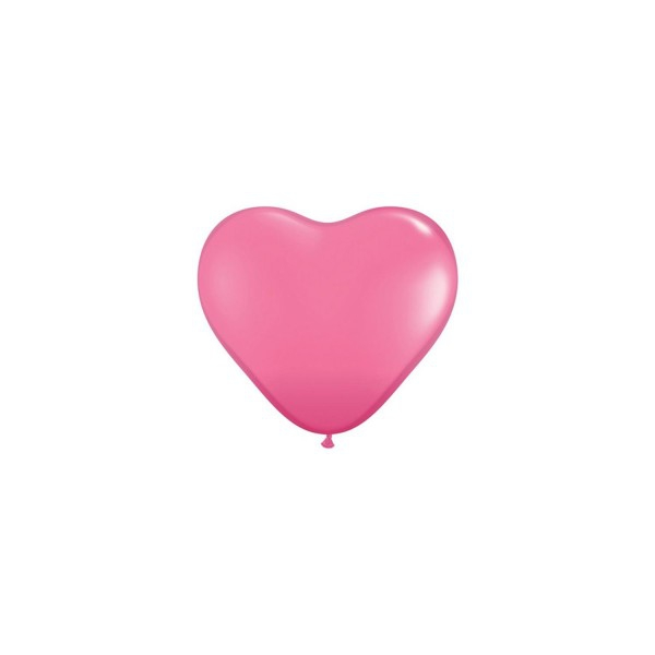 100 ballons latex coeur 15 cm rose mode