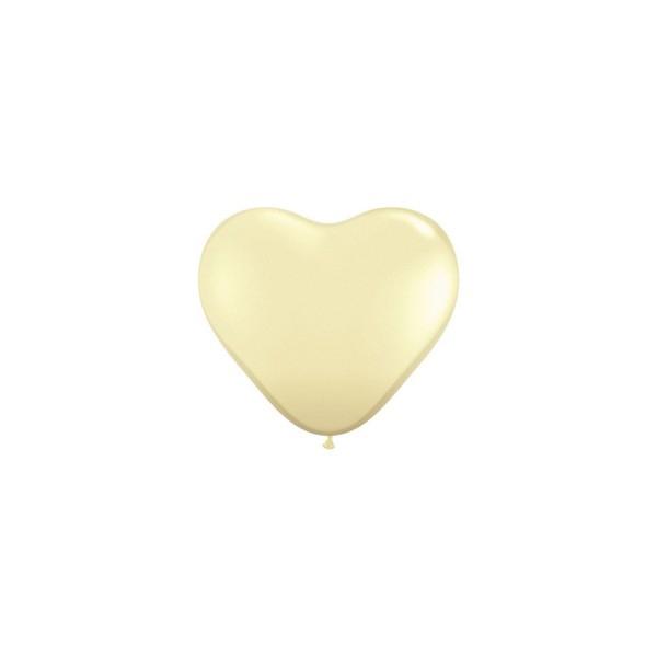 100 ballons latex coeur 15 cm ivoire QUALATEX COEUR 15 CM (air)