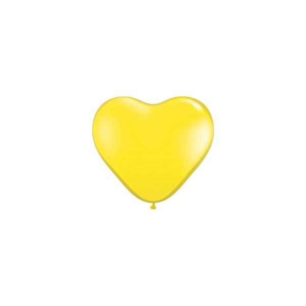 100 ballons latex coeur 15 cm jaune citron