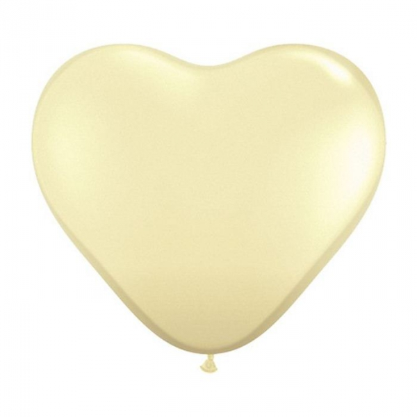 100 ballons latex coeur 28 cm ivoire QUALATEX COEURS 28CM