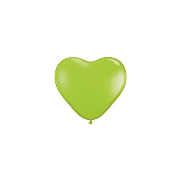 100 ballons latex coeur 15 cm vert pomme