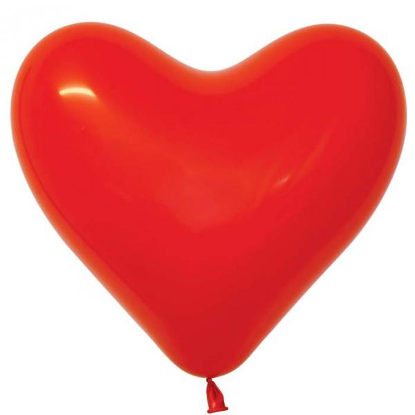 coeur rouge opaque sempertex 30 cm en poche de 100