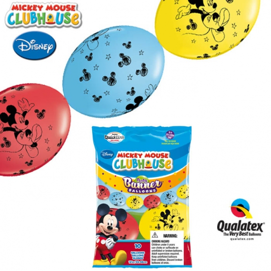 10 ballons Mickey double attache 30 cm QUALATEX Double Attaches Qualatex