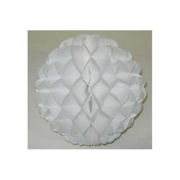 1 Boule papier alvéolé 50 cm BLANC BLANC ET IRISE