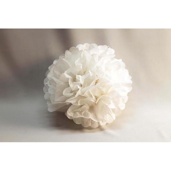 3 fleurs décoration 20 cm BLANC BLANC ET IRISE