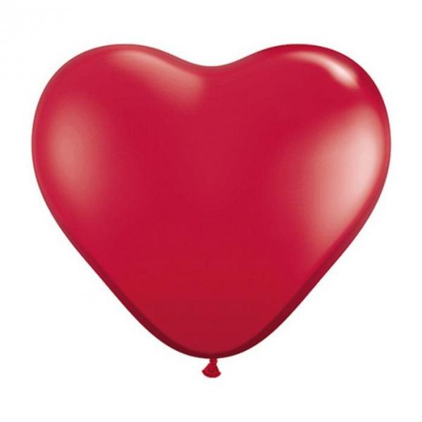 2 Coeurs qualatex 90 cm rouge rubis