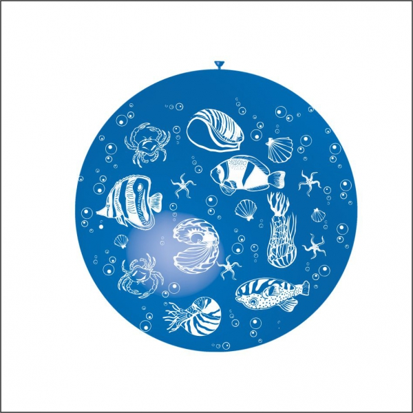 ballons 90 cm poissons imprimés tout autour BALOONIA Mer Pêche Poissons