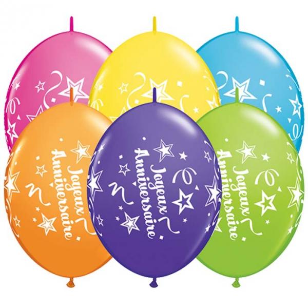 10 joyeux anniversaire 30 cm Double attache QUALATEX Anniversaire Baudruches Imprimes