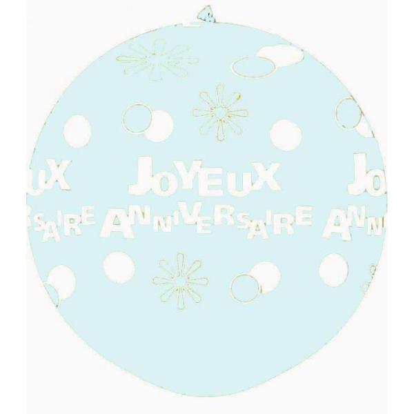 joyeux anniversaire points et fleurs 90 cm de diamètre transparent (air)6105_1243583683 Anniversaire Baudruches Imprimes