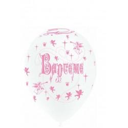 ballons baptême blanc rose 28 cm imprimé tout autour