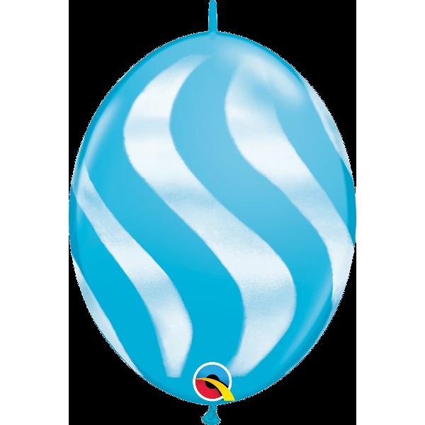 50 Ballons quick link 30 cm bleu robin's egg rayure blanche