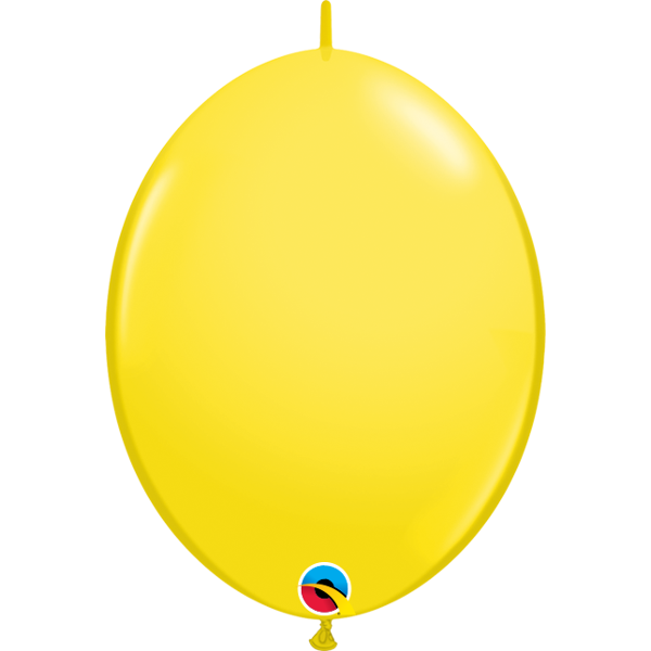 50 BALLONS 15 CM DOUBLE ATTACHE QUALATEX jaune
