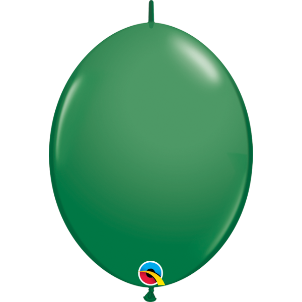 50 BALLONS 15 CM DOUBLE ATTACHE QUALATEX vert foret