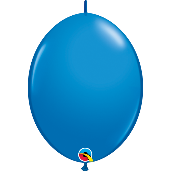 50 BALLONS 15 CM DOUBLE ATTACHE QUALATEX bleu foncé