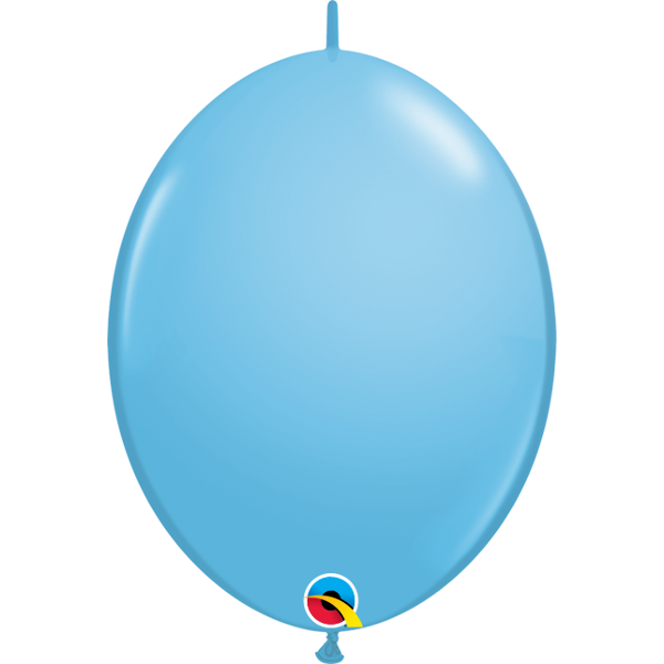 50 BALLONS 15 CM DOUBLE ATTACHE QUALATEX bleu ciel