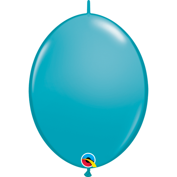 50 BALLONS 15 CM DOUBLE ATTACHE QUALATEX turquoise teal