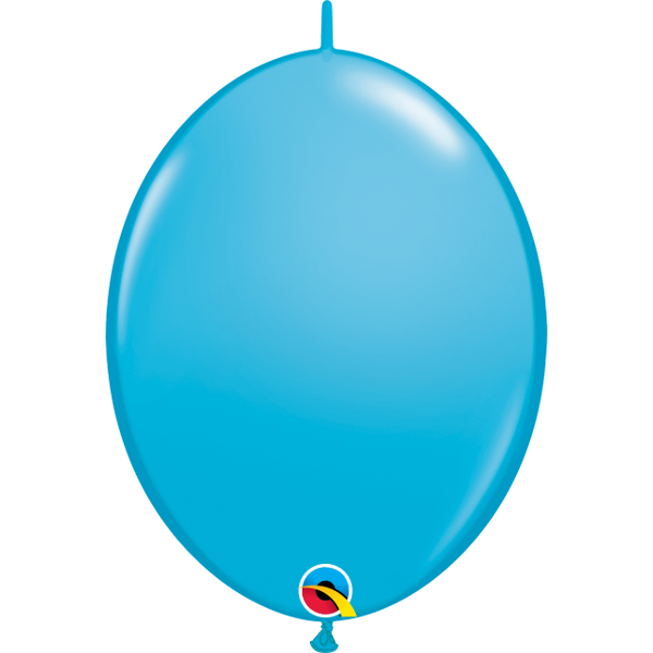 50 BALLONS 15 CM DOUBLE ATTACHE QUALATEX turquoise