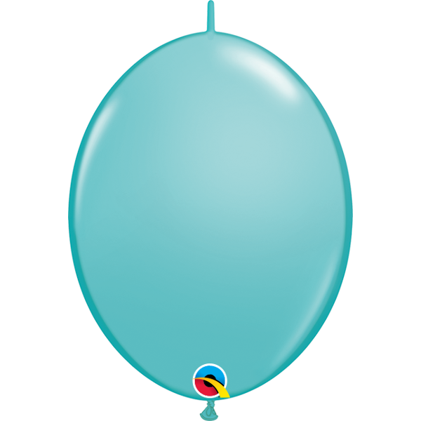 50 BALLONS 15 CM DOUBLE ATTACHE QUALATEX turquoise caraibe