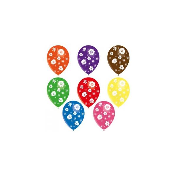 50 ballons 28 cm fleur printemps imprimés tout autour